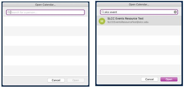 Images of the Open Calendar dialog box