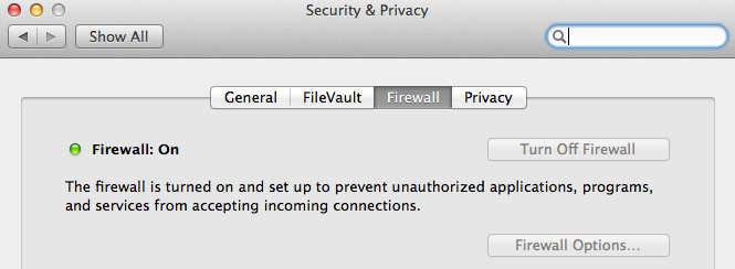 Mac Security & Privacy Dialog - Firewall Settings