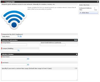 Example Catalog Item Form (Guest Wireless Access)