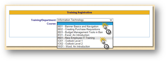 Training Registration Search Page IT Selected