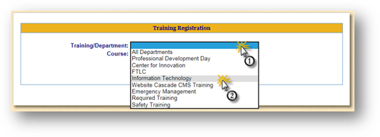 Training Registration Search Page