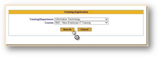 Training Registration Search Page Final Search