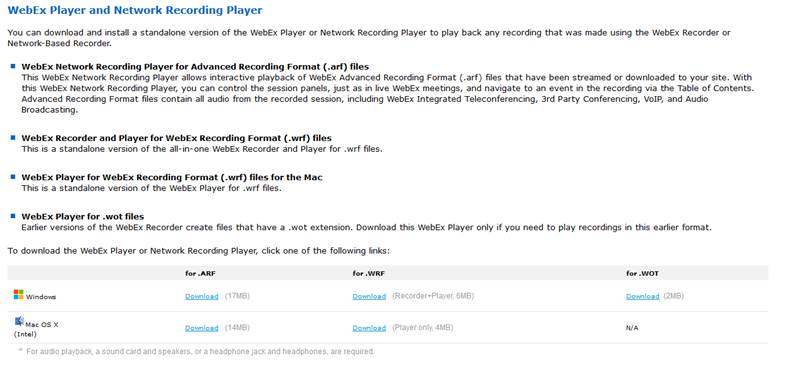 network recording player download