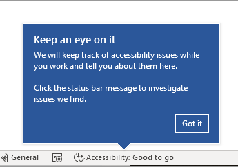 Accessibility hint box from Word 365