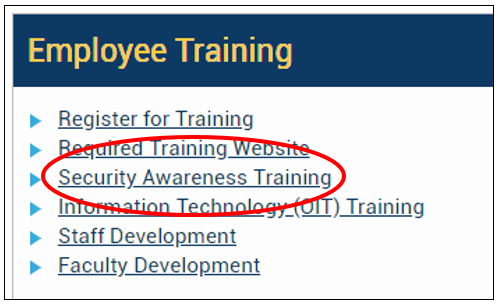 Image of options listed un Employee Training