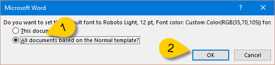 default word font size