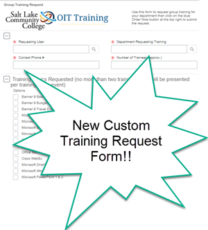 Image Shows OIT Trainings New Custom Training Form