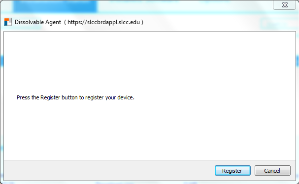 Image shows register button