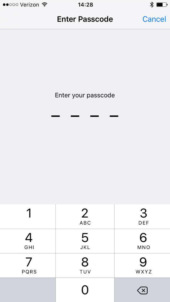 Image shows passcode screen