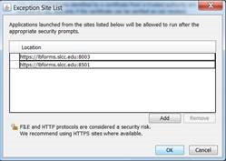 Image shows Security Exception Site List