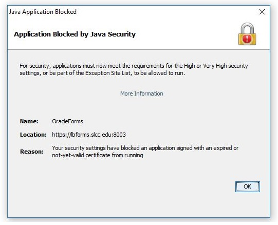 Image shows Banner Error, blocked by Java Security