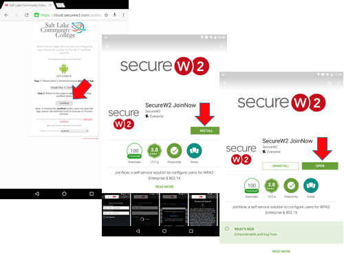 Image shows Secure W2 join now and AppStore Install button