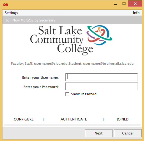 Image shows username and password screen